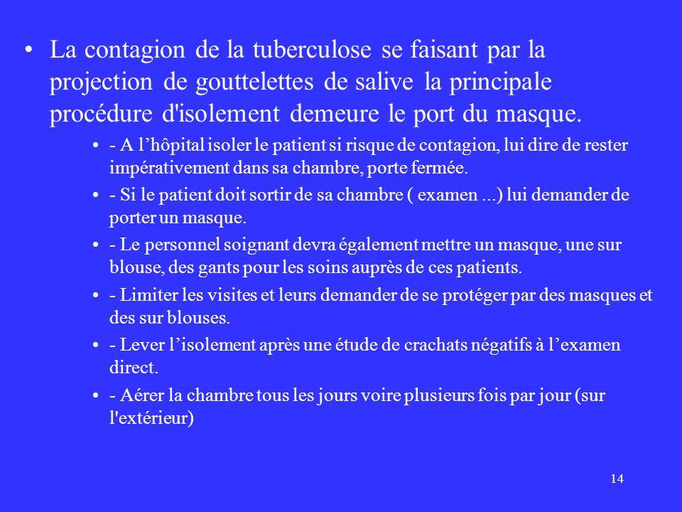 14 La contagion de la tuberculose se faisant par la projection de gouttelettes de salive la principale procédure d'isolement demeure le port du masque