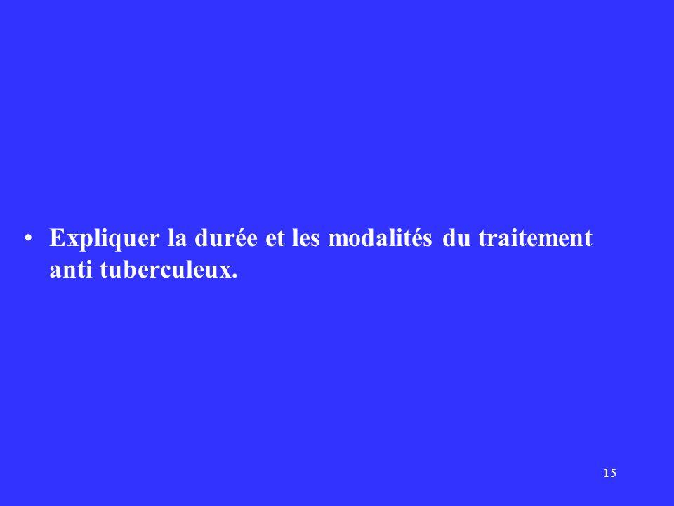 15 Expliquer la durée et les modalités du traitement anti tuberculeux.