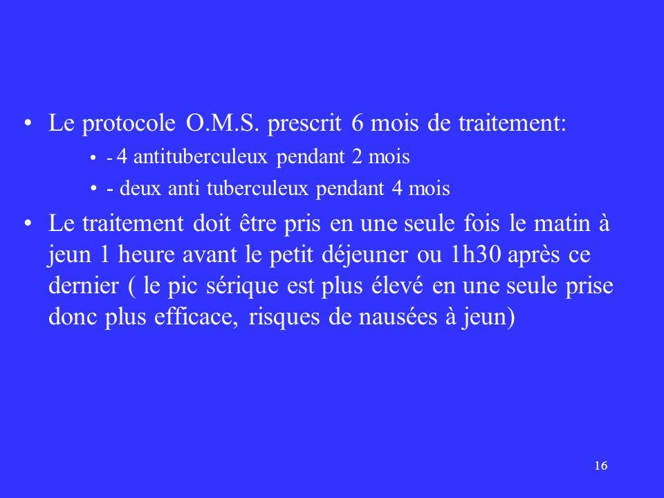 16 Le protocole O.M.S. prescrit 6 mois de traitement: - 4 antituberculeux pendant 2 mois - deux anti tuberculeux pendant 4 mois Le traitement doit êtr