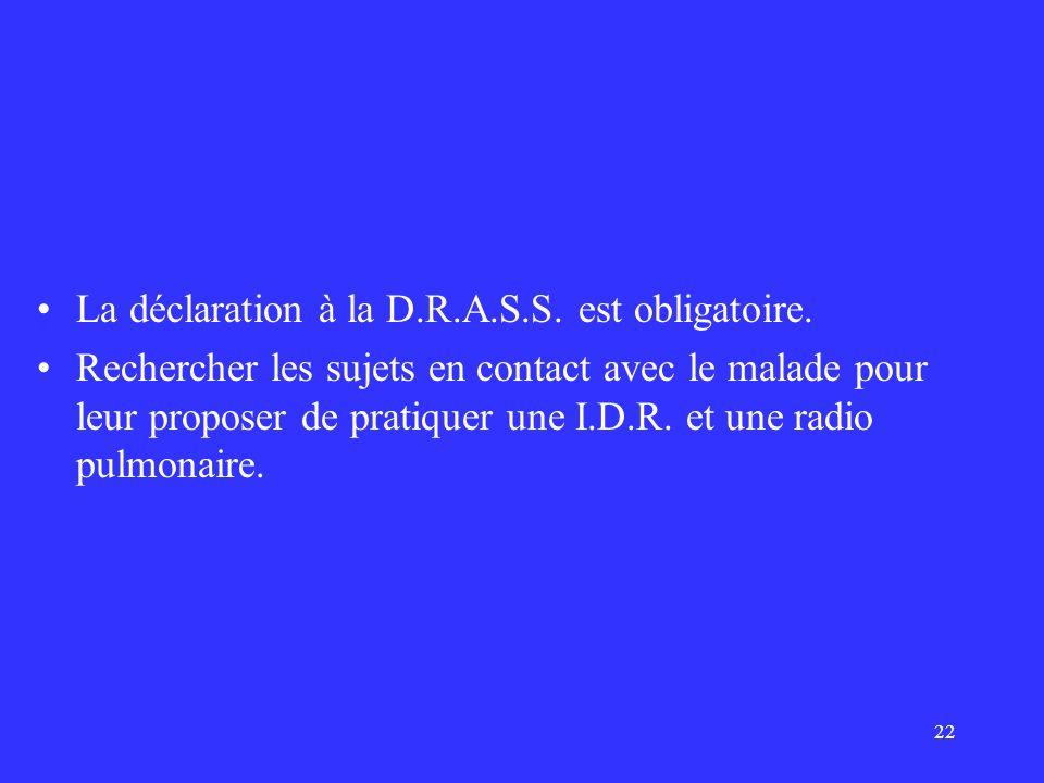 22 La déclaration à la D.R.A.S.S. est obligatoire. Rechercher les sujets en contact avec le malade pour leur proposer de pratiquer une I.D.R. et une r