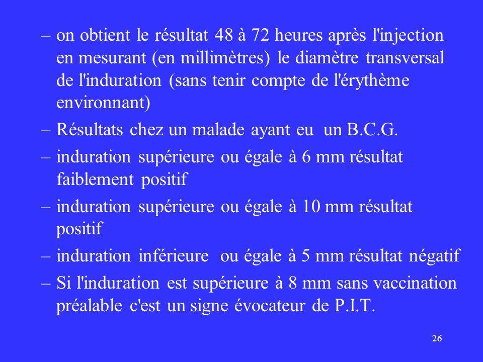 26 –on obtient le résultat 48 à 72 heures après l'injection en mesurant (en millimètres) le diamètre transversal de l'induration (sans tenir compte de