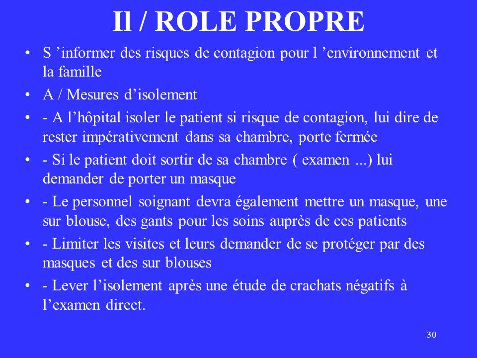 30 Il / ROLE PROPRE S informer des risques de contagion pour l environnement et la famille A / Mesures disolement - A lhôpital isoler le patient si ri