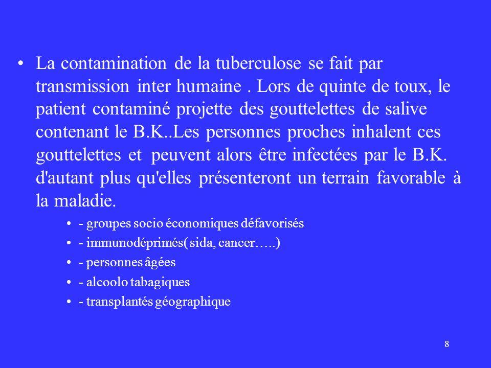8 La contamination de la tuberculose se fait par transmission inter humaine. Lors de quinte de toux, le patient contaminé projette des gouttelettes de