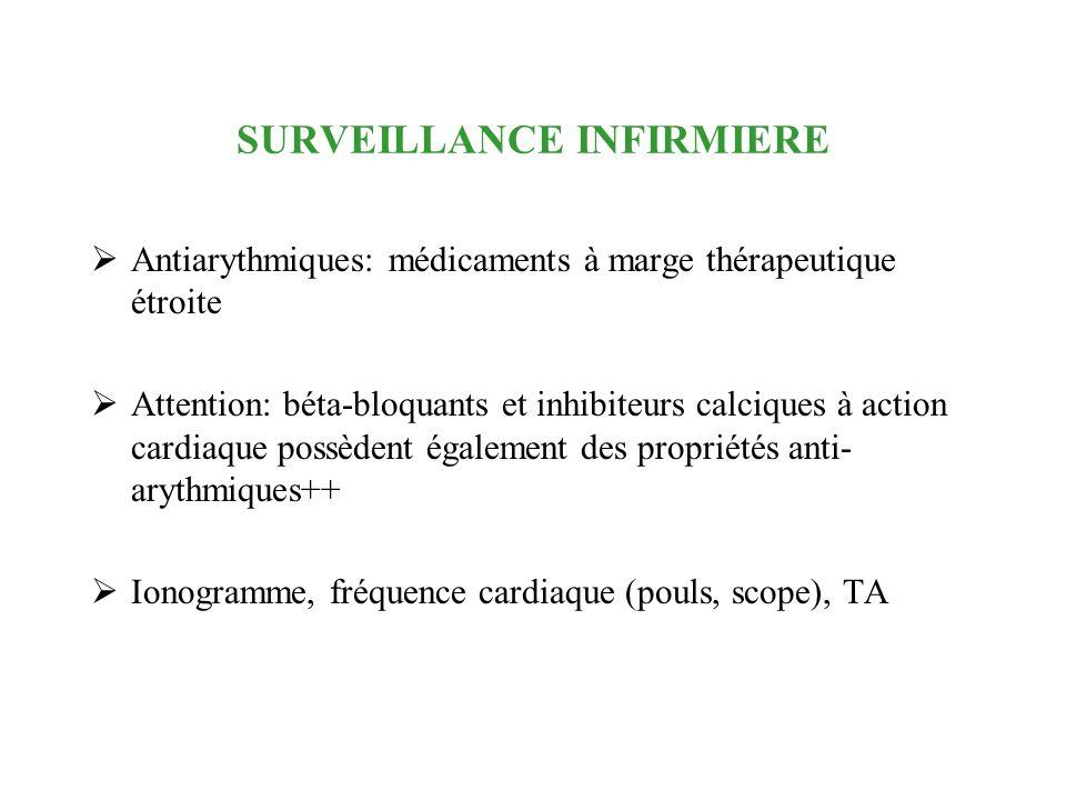 SURVEILLANCE INFIRMIERE Antiarythmiques: médicaments à marge thérapeutique étroite Attention: béta-bloquants et inhibiteurs calciques à action cardiaq