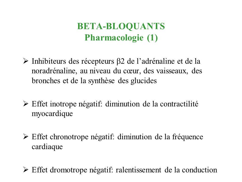 BETA-BLOQUANTS Pharmacologie (1) Inhibiteurs des récepteurs 2 de ladrénaline et de la noradrénaline, au niveau du cœur, des vaisseaux, des bronches et