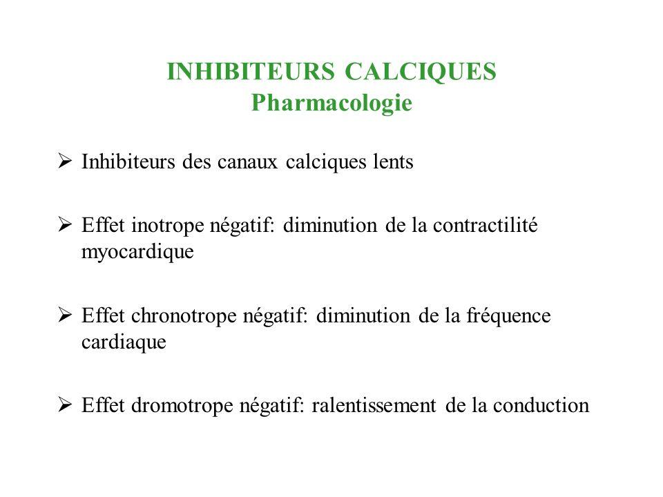 INHIBITEURS CALCIQUES Pharmacologie Inhibiteurs des canaux calciques lents Effet inotrope négatif: diminution de la contractilité myocardique Effet ch