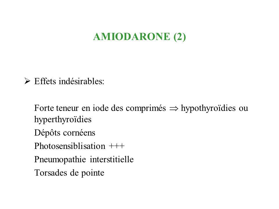 AMIODARONE (2) Effets indésirables: Forte teneur en iode des comprimés hypothyroïdies ou hyperthyroïdies Dépôts cornéens Photosensiblisation +++ Pneum