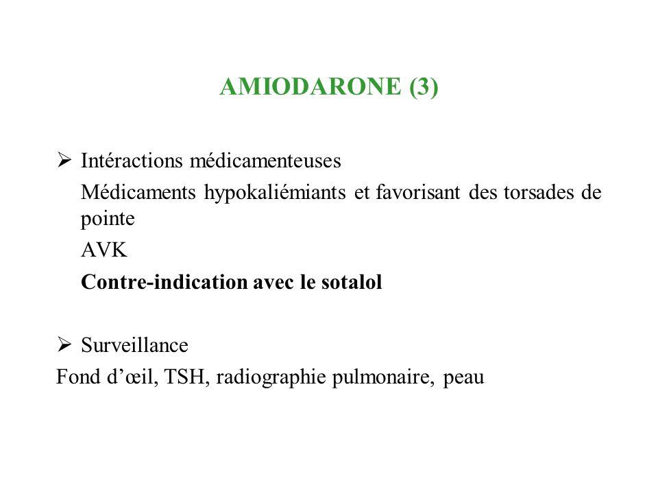 AMIODARONE (3) Intéractions médicamenteuses Médicaments hypokaliémiants et favorisant des torsades de pointe AVK Contre-indication avec le sotalol Sur