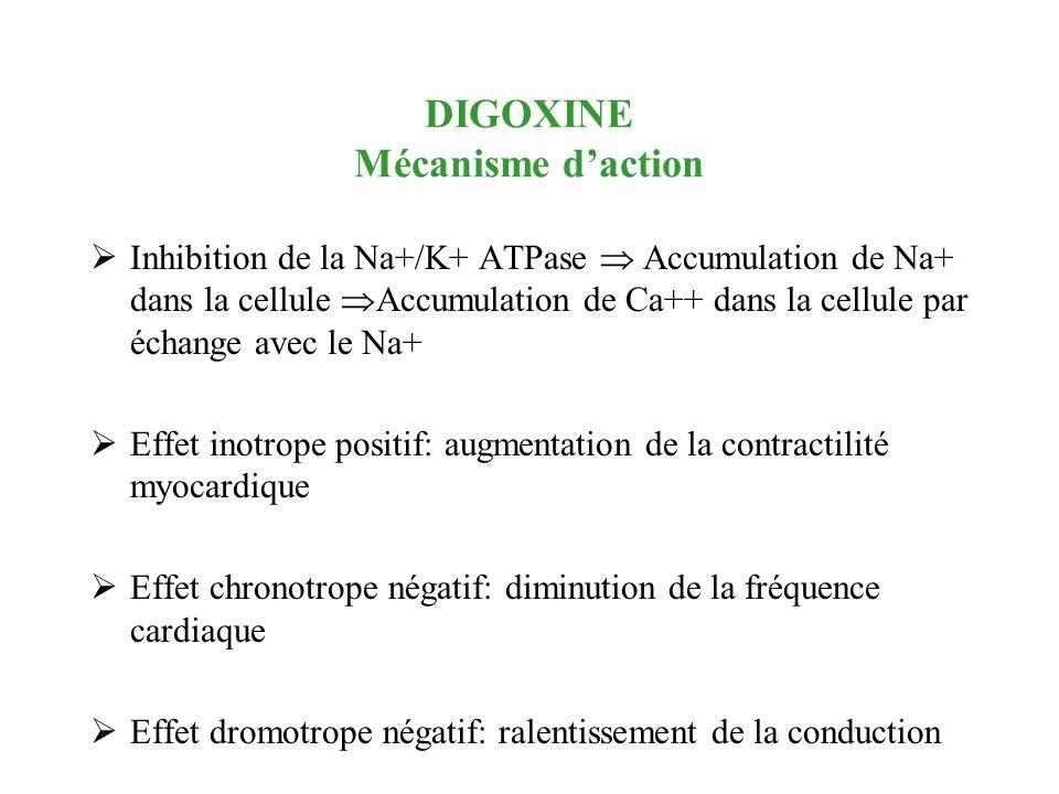 DIGOXINE Mécanisme daction Inhibition de la Na+/K+ ATPase Accumulation de Na+ dans la cellule Accumulation de Ca++ dans la cellule par échange avec le