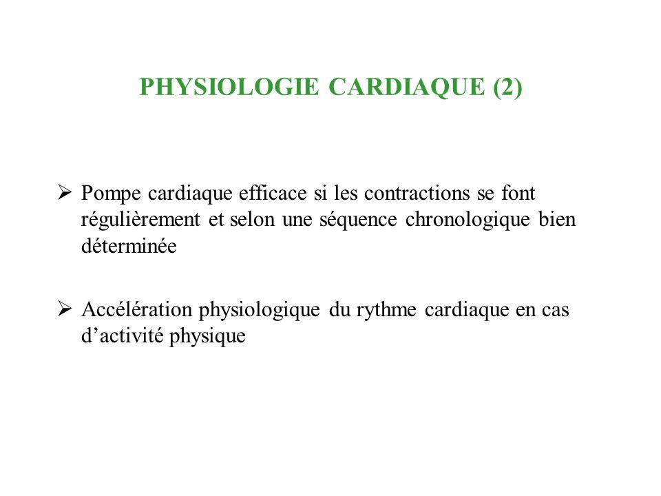 PHYSIOLOGIE CARDIAQUE (2) Pompe cardiaque efficace si les contractions se font régulièrement et selon une séquence chronologique bien déterminée Accél