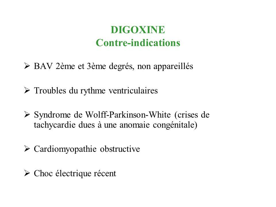 DIGOXINE Contre-indications BAV 2ème et 3ème degrés, non appareillés Troubles du rythme ventriculaires Syndrome de Wolff-Parkinson-White (crises de ta