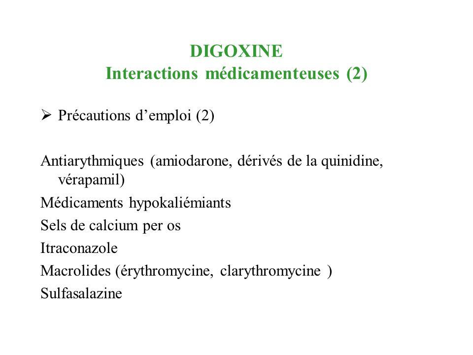 DIGOXINE Interactions médicamenteuses (2) Précautions demploi (2) Antiarythmiques (amiodarone, dérivés de la quinidine, vérapamil) Médicaments hypokal
