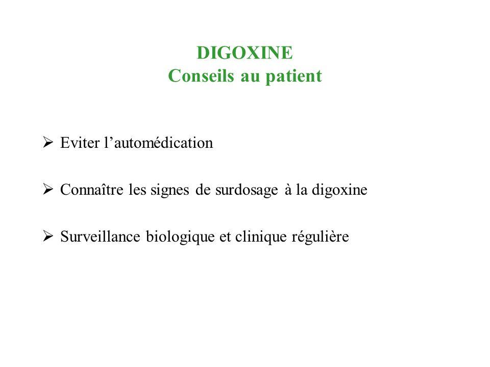 DIGOXINE Conseils au patient Eviter lautomédication Connaître les signes de surdosage à la digoxine Surveillance biologique et clinique régulière