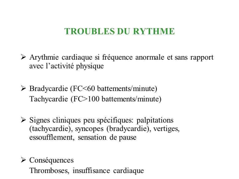 TROUBLES DU RYTHME Arythmie cardiaque si fréquence anormale et sans rapport avec lactivité physique Bradycardie (FC<60 battements/minute) Tachycardie