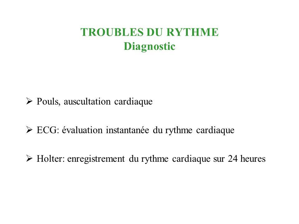 TROUBLES DU RYTHME Diagnostic Pouls, auscultation cardiaque ECG: évaluation instantanée du rythme cardiaque Holter: enregistrement du rythme cardiaque