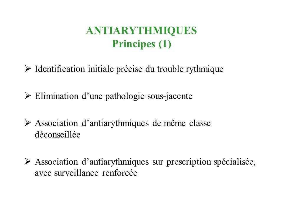 ANTIARYTHMIQUES Principes (1) Identification initiale précise du trouble rythmique Elimination dune pathologie sous-jacente Association dantiarythmiqu