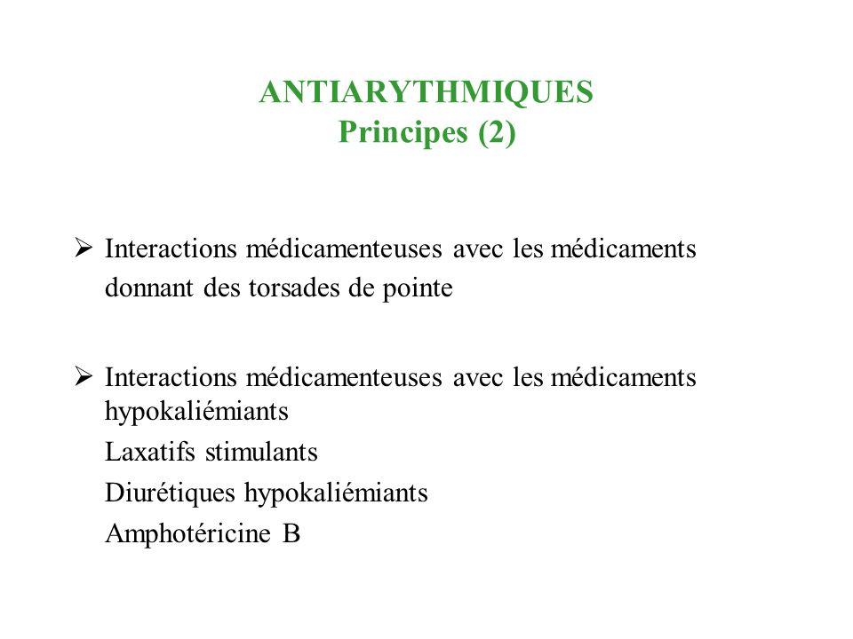 ANTIARYTHMIQUES Principes (2) Interactions médicamenteuses avec les médicaments donnant des torsades de pointe Interactions médicamenteuses avec les m