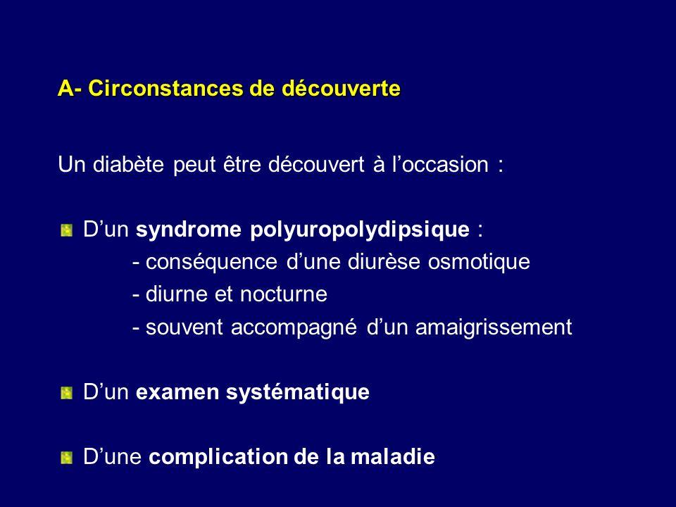 A- Circonstances de découverte Un diabète peut être découvert à loccasion : Dun syndrome polyuropolydipsique : - conséquence dune diurèse osmotique -
