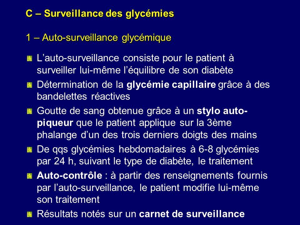 C – Surveillance des glycémies 1 – Auto-surveillance glycémique Lauto-surveillance consiste pour le patient à surveiller lui-même léquilibre de son di