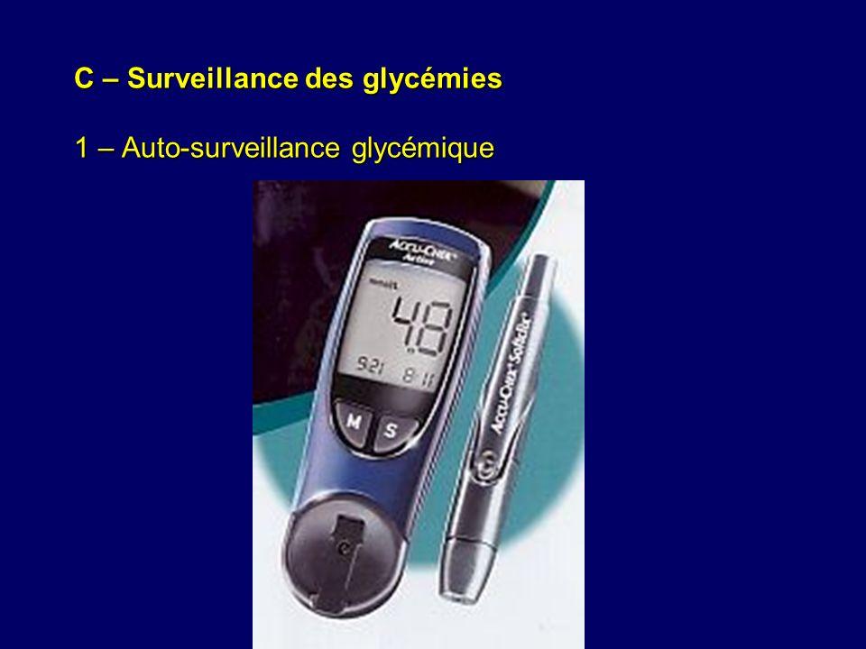 C – Surveillance des glycémies 1 – Auto-surveillance glycémique