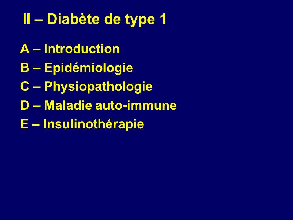II – Diabète de type 1 A – Introduction B – Epidémiologie C – Physiopathologie D – Maladie auto-immune E – Insulinothérapie