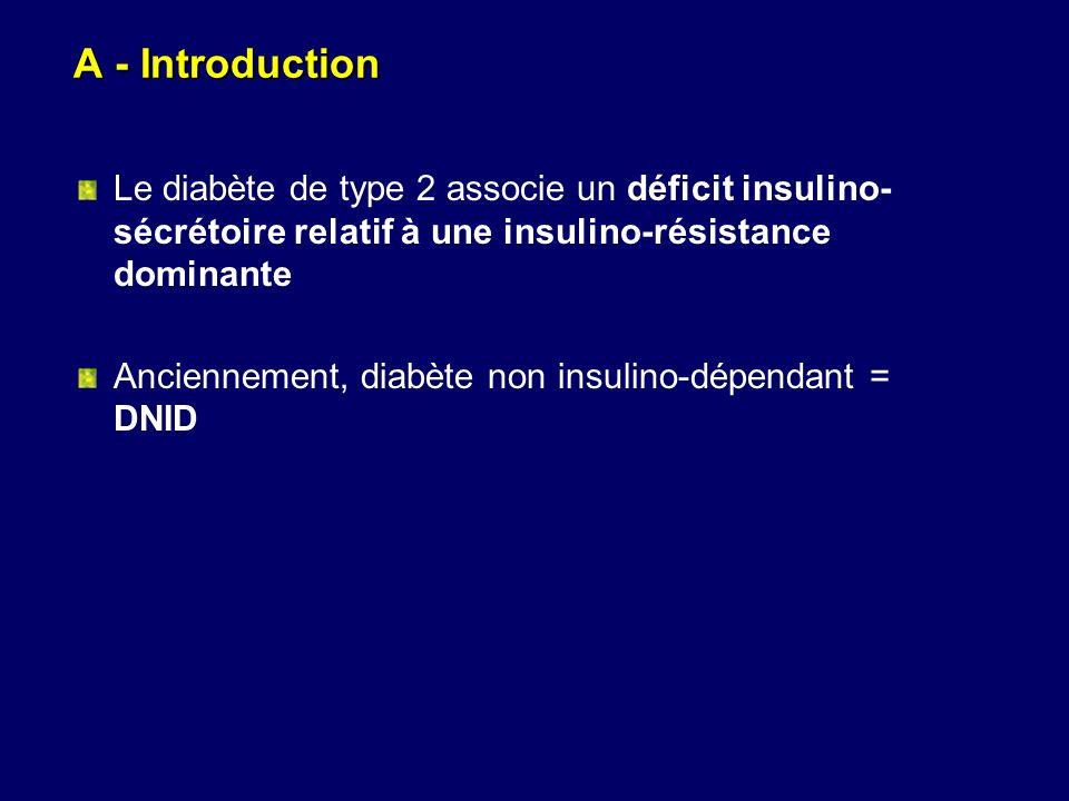 A - Introduction Le diabète de type 2 associe un déficit insulino- sécrétoire relatif à une insulino-résistance dominante Anciennement, diabète non in