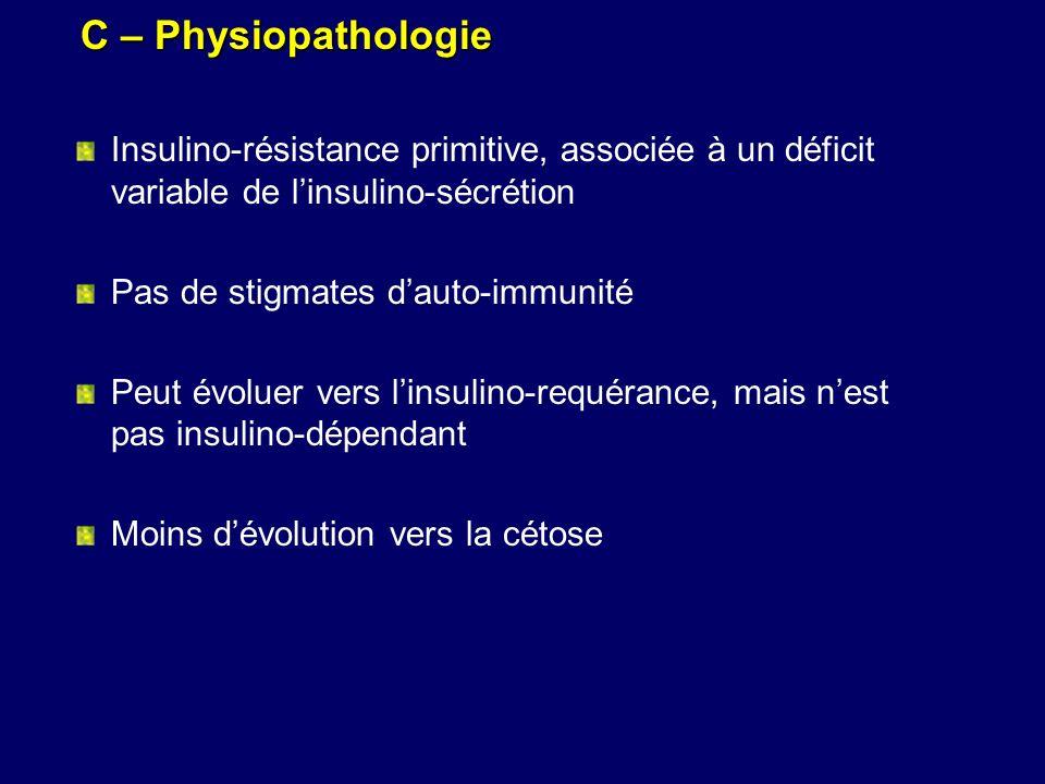 C – Physiopathologie Insulino-résistance primitive, associée à un déficit variable de linsulino-sécrétion Pas de stigmates dauto-immunité Peut évoluer