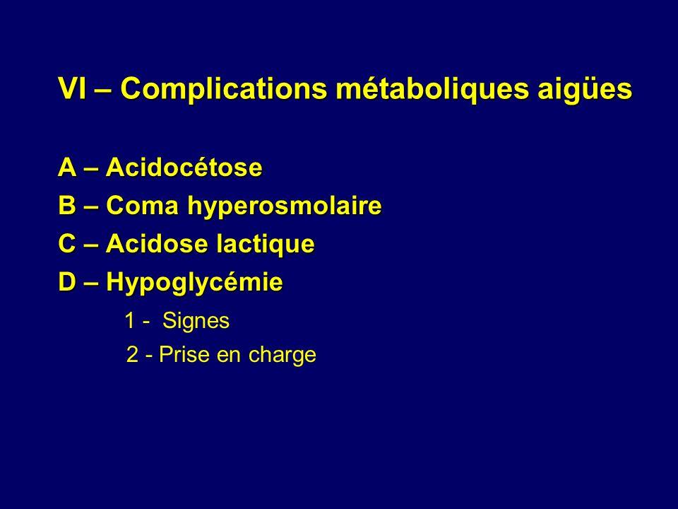 VI – Complications métaboliques aigües A – Acidocétose B – Coma hyperosmolaire C – Acidose lactique D – Hypoglycémie 1 - Signes 2 - Prise en charge