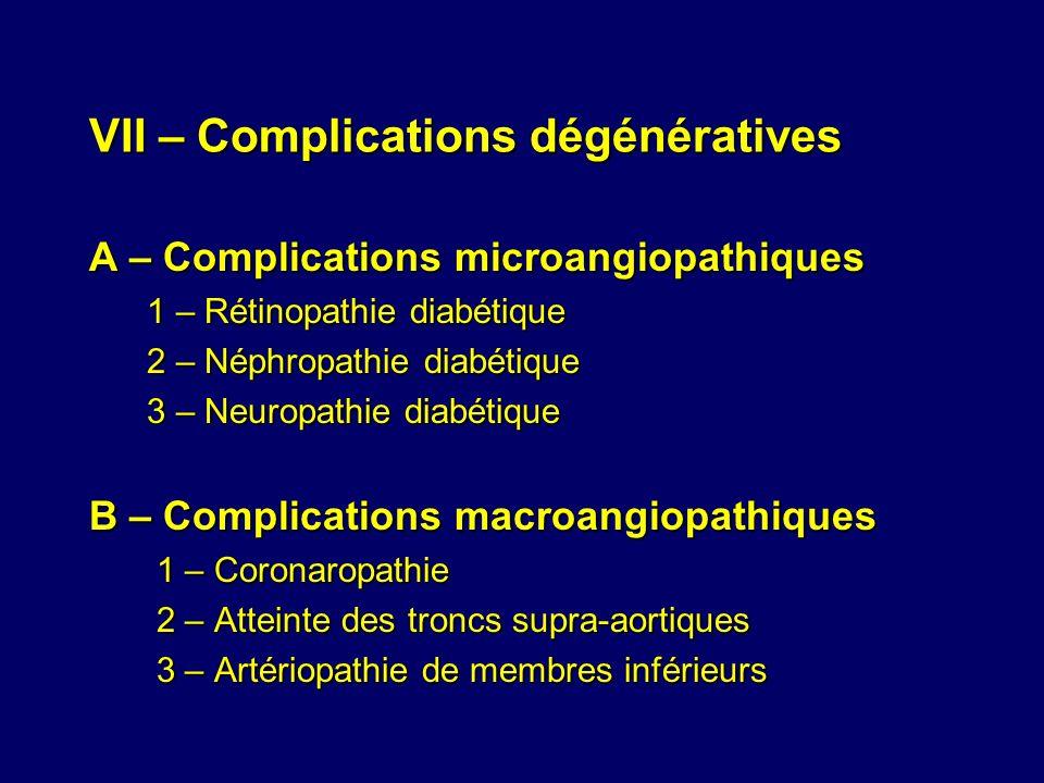 VII – Complications dégénératives A – Complications microangiopathiques 1 – Rétinopathie diabétique 1 – Rétinopathie diabétique 2 – Néphropathie diabé