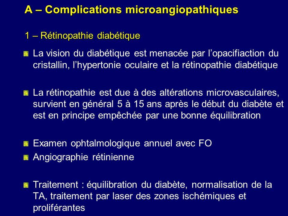 A – Complications microangiopathiques 1 – Rétinopathie diabétique La vision du diabétique est menacée par lopacifiaction du cristallin, lhypertonie oc