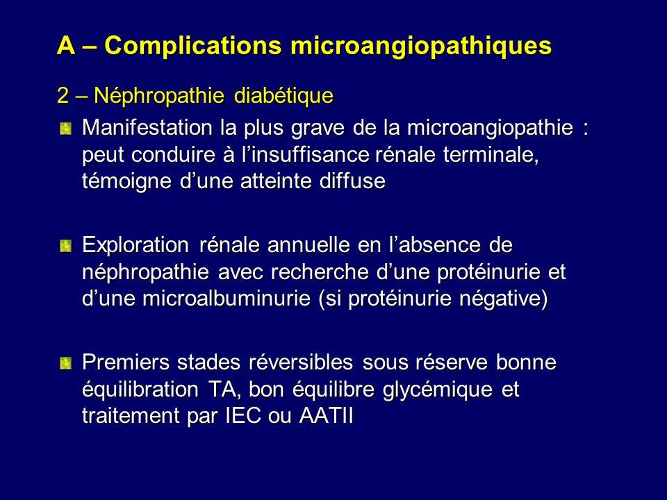 A – Complications microangiopathiques 2 – Néphropathie diabétique Manifestation la plus grave de la microangiopathie : peut conduire à linsuffisance r