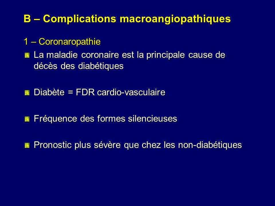 B – Complications macroangiopathiques 1 – Coronaropathie La maladie coronaire est la principale cause de décès des diabétiques Diabète = FDR cardio-va
