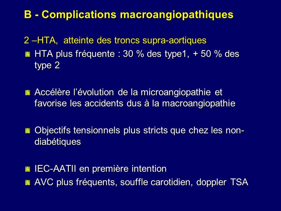 B - Complications macroangiopathiques 2 –HTA, atteinte des troncs supra-aortiques HTA plus fréquente : 30 % des type1, + 50 % des type 2 Accélère lévo
