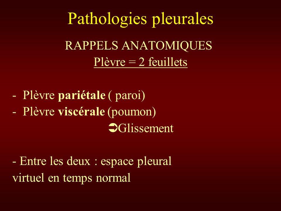 Pathologies pleurales RAPPELS ANATOMIQUES Plèvre = 2 feuillets -Plèvre pariétale ( paroi) -Plèvre viscérale (poumon) Glissement - Entre les deux : esp