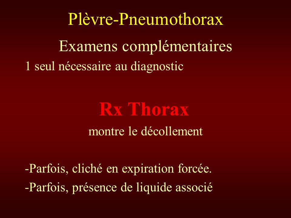 Plèvre-Pneumothorax Examens complémentaires 1 seul nécessaire au diagnostic Rx Thorax montre le décollement -Parfois, cliché en expiration forcée. -Pa