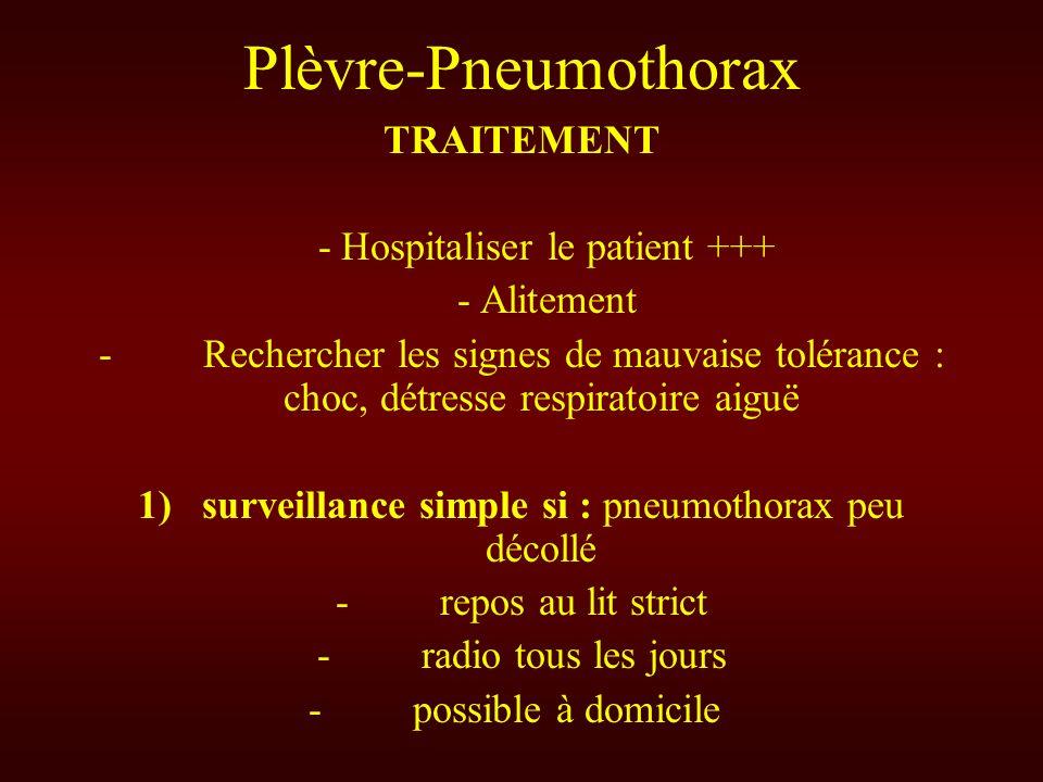 Plèvre-Pneumothorax TRAITEMENT - Hospitaliser le patient +++ - Alitement - Rechercher les signes de mauvaise tolérance : choc, détresse respiratoire a