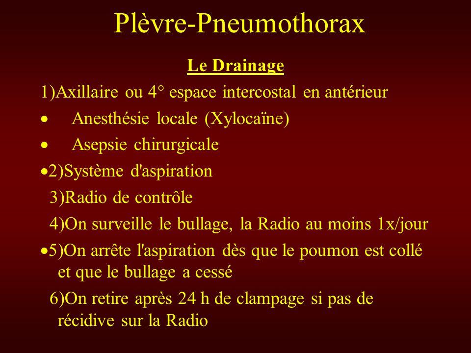 Plèvre-Pneumothorax Le Drainage 1)Axillaire ou 4° espace intercostal en antérieur Anesthésie locale (Xylocaïne) Asepsie chirurgicale Système d'aspirat