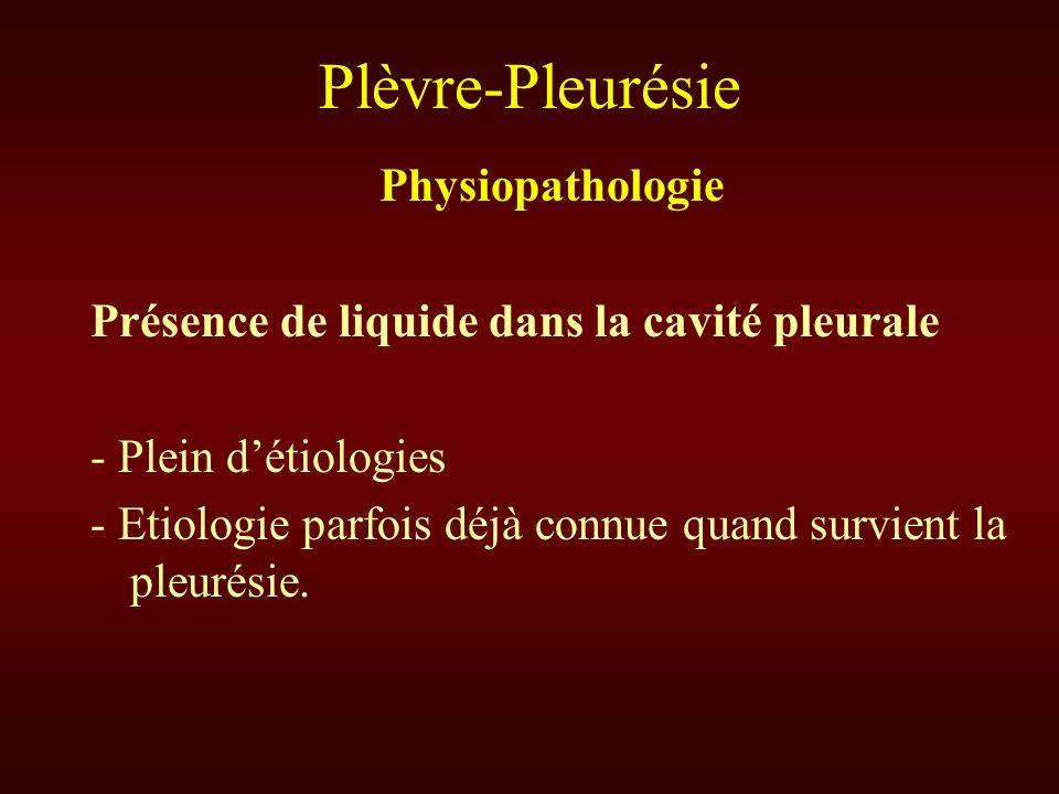 Plèvre-Pleurésie Physiopathologie Présence de liquide dans la cavité pleurale - Plein détiologies - Etiologie parfois déjà connue quand survient la pl