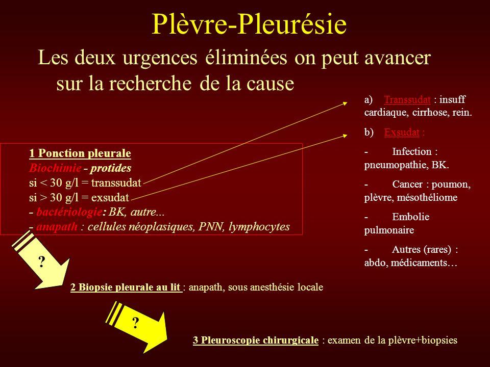 Les deux urgences éliminées on peut avancer sur la recherche de la cause Plèvre-Pleurésie 1 Ponction pleurale Biochimie - protides si < 30 g/l = trans