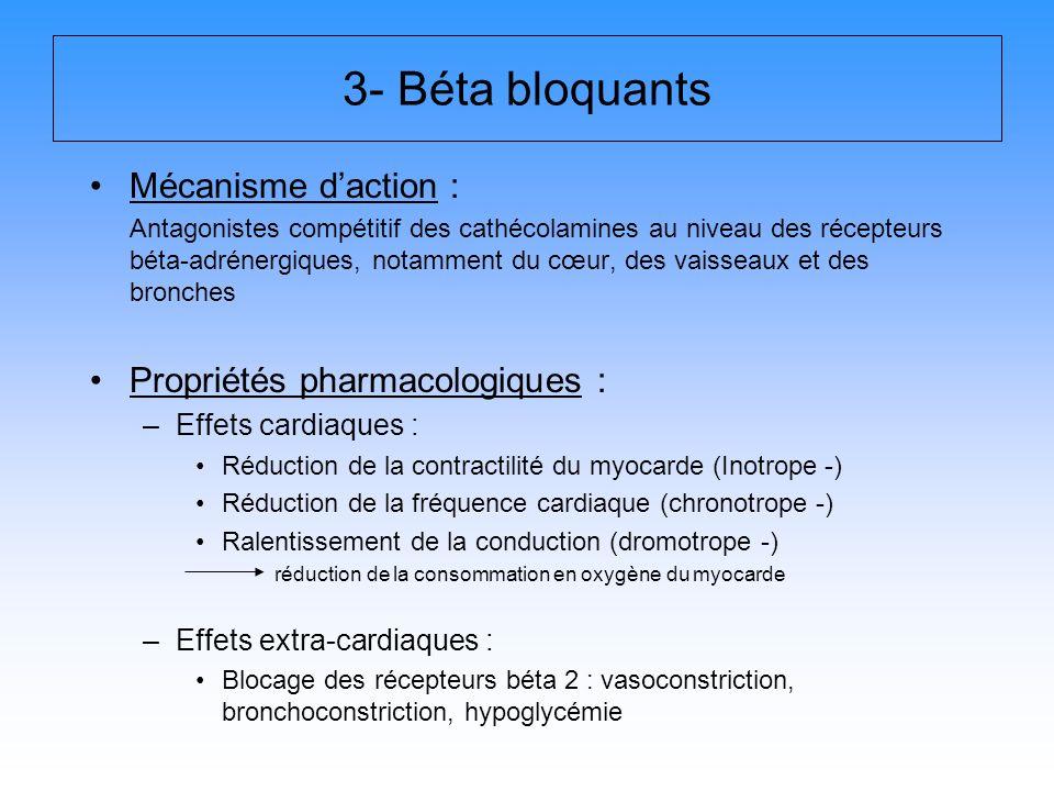 3- Béta bloquants Mécanisme daction : Antagonistes compétitif des cathécolamines au niveau des récepteurs béta-adrénergiques, notamment du cœur, des v