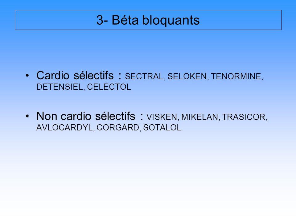 Cardio sélectifs : SECTRAL, SELOKEN, TENORMINE, DETENSIEL, CELECTOL Non cardio sélectifs : VISKEN, MIKELAN, TRASICOR, AVLOCARDYL, CORGARD, SOTALOL 3-