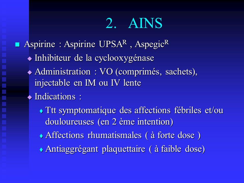 2.AINS Aspirine : Aspirine UPSA R, Aspegic R Aspirine : Aspirine UPSA R, Aspegic R Inhibiteur de la cyclooxygénase Inhibiteur de la cyclooxygénase Administration : VO (comprimés, sachets), injectable en IM ou IV lente Administration : VO (comprimés, sachets), injectable en IM ou IV lente Indications : Indications : Ttt symptomatique des affections fébriles et/ou douloureuses (en 2 ème intention) Ttt symptomatique des affections fébriles et/ou douloureuses (en 2 ème intention) Affections rhumatismales ( à forte dose ) Affections rhumatismales ( à forte dose ) Antiaggrégant plaquettaire ( à faible dose) Antiaggrégant plaquettaire ( à faible dose)