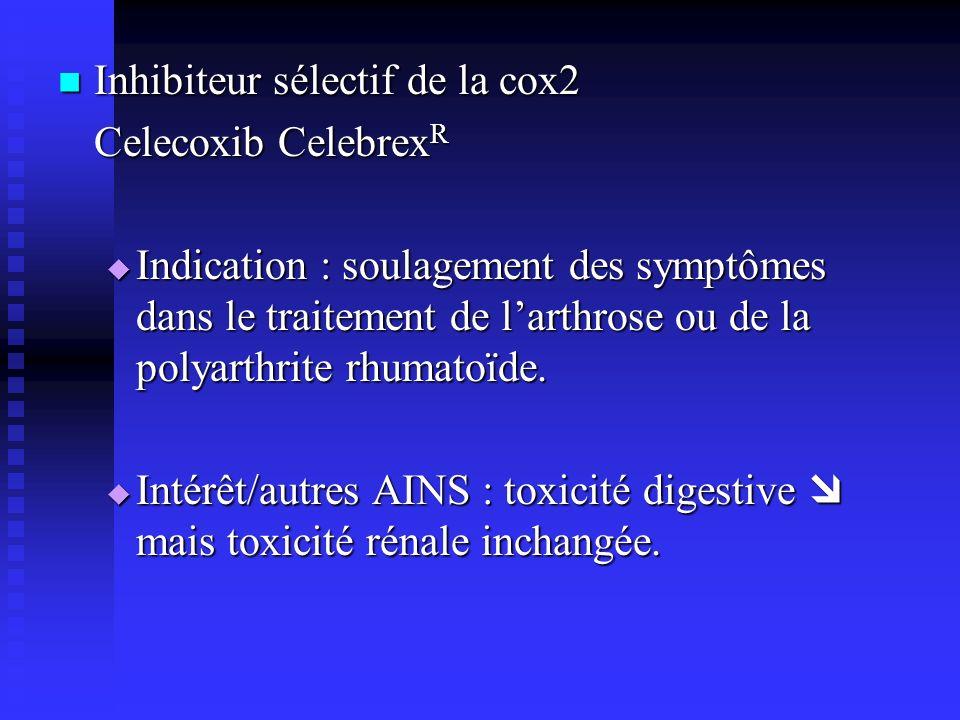 Inhibiteur sélectif de la cox2 Inhibiteur sélectif de la cox2 Celecoxib Celebrex R Indication : soulagement des symptômes dans le traitement de larthrose ou de la polyarthrite rhumatoïde.