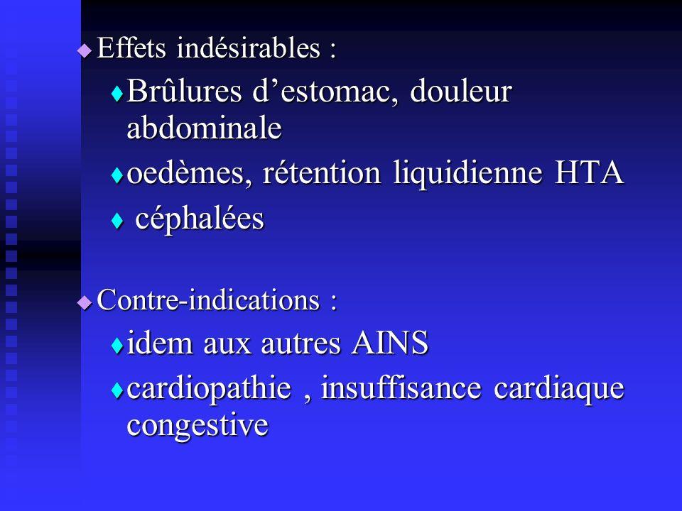 Effets indésirables : Effets indésirables : Brûlures destomac, douleur abdominale Brûlures destomac, douleur abdominale oedèmes, rétention liquidienne