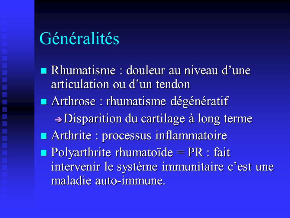 Généralités Rhumatisme : douleur au niveau dune articulation ou dun tendon Rhumatisme : douleur au niveau dune articulation ou dun tendon Arthrose : rhumatisme dégénératif Arthrose : rhumatisme dégénératif Disparition du cartilage à long terme Disparition du cartilage à long terme Arthrite : processus inflammatoire Arthrite : processus inflammatoire Polyarthrite rhumatoïde = PR : fait intervenir le système immunitaire cest une maladie auto-immune.