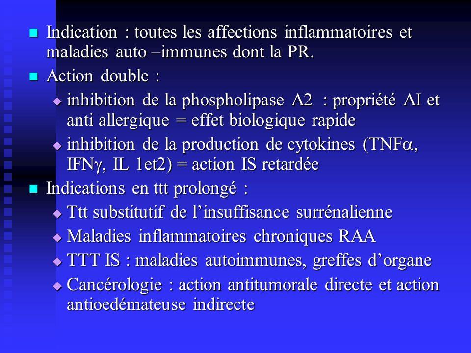 Indication : toutes les affections inflammatoires et maladies auto –immunes dont la PR. Indication : toutes les affections inflammatoires et maladies