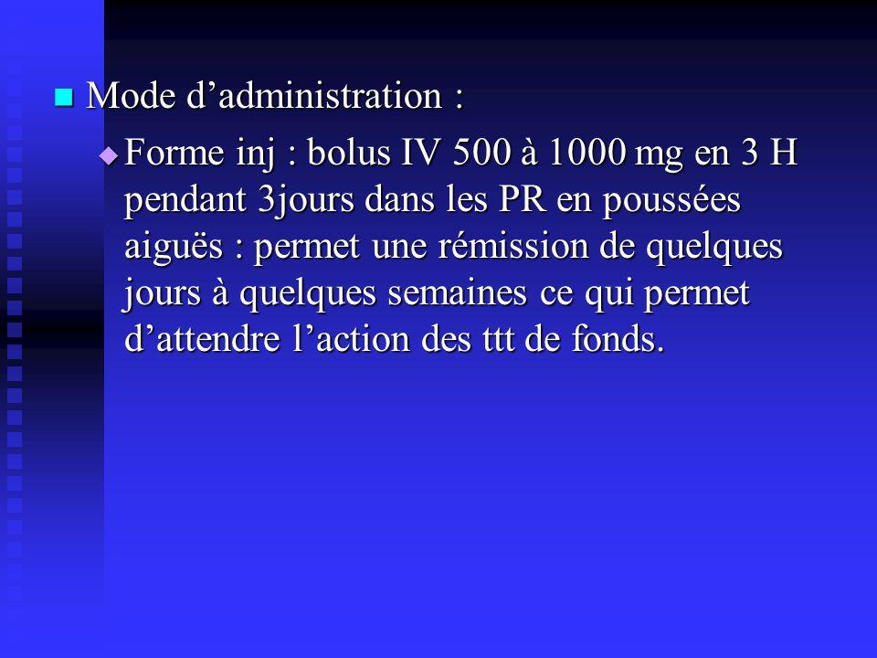 Mode dadministration : Mode dadministration : Forme inj : bolus IV 500 à 1000 mg en 3 H pendant 3jours dans les PR en poussées aiguës : permet une rémission de quelques jours à quelques semaines ce qui permet dattendre laction des ttt de fonds.