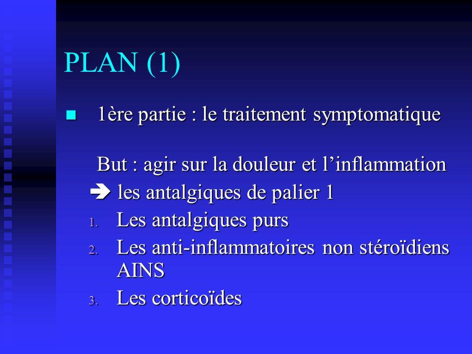 PLAN (1) 1ère partie : le traitement symptomatique 1ère partie : le traitement symptomatique But : agir sur la douleur et linflammation les antalgiques de palier 1 les antalgiques de palier 1 1.