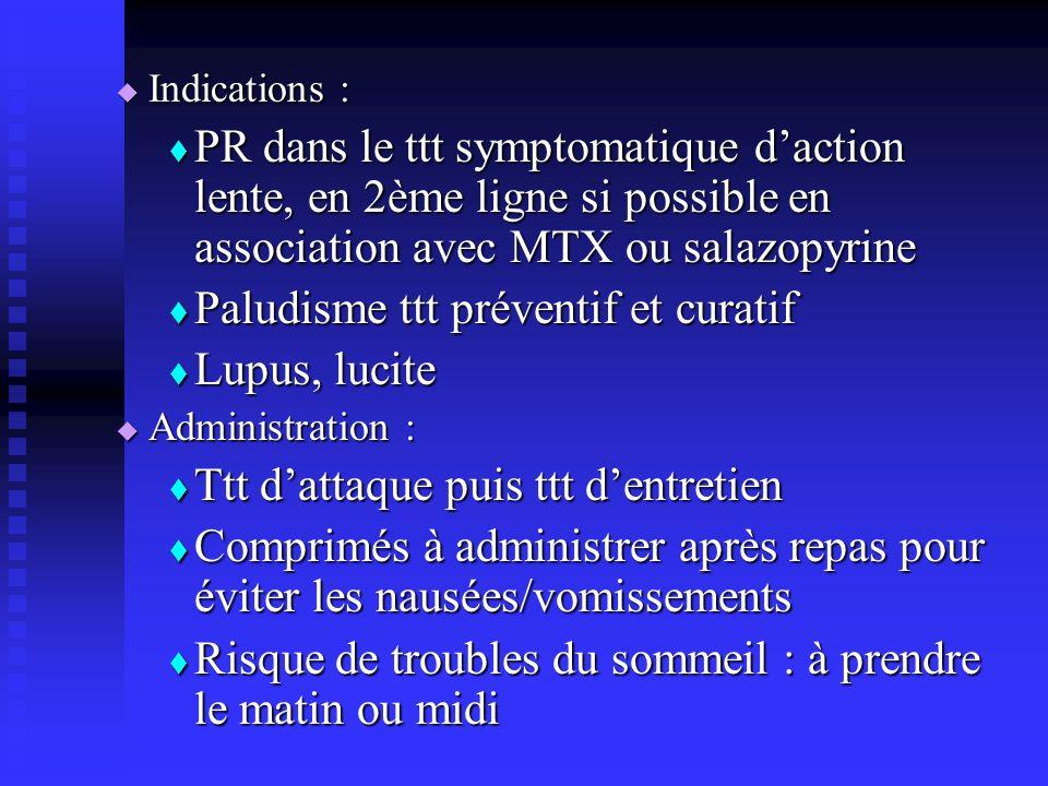 Indications : Indications : PR dans le ttt symptomatique daction lente, en 2ème ligne si possible en association avec MTX ou salazopyrine PR dans le t