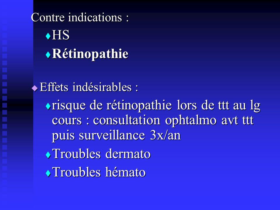 Contre indications : HS HS Rétinopathie Rétinopathie Effets indésirables : Effets indésirables : risque de rétinopathie lors de ttt au lg cours : cons